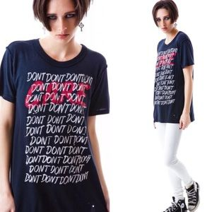 "Rare! UNIF ""DARE"" Dont care distressed tee"